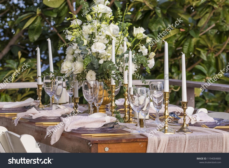 Boho Style Theme Romantic Wedding Table Stock Photo Edit Now
