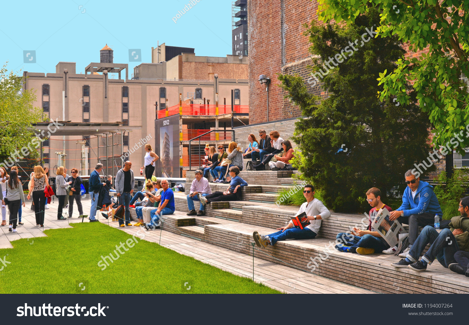 Excellent People Sitting On Wooden Benches On Stock Photo Edit Now Bralicious Painted Fabric Chair Ideas Braliciousco
