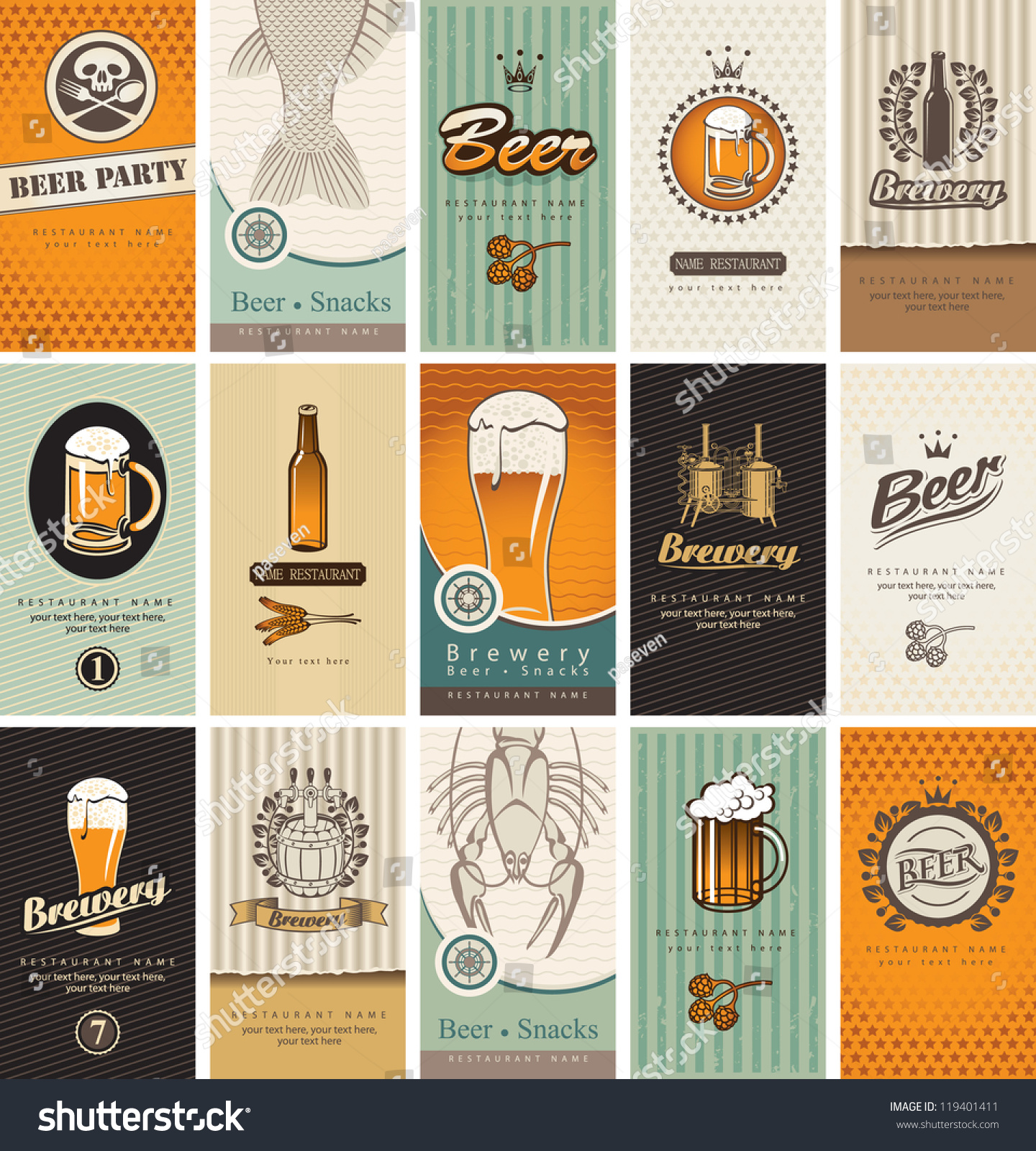 Set Business Cards On Topic Beer Stock Photo (Photo, Vector ...