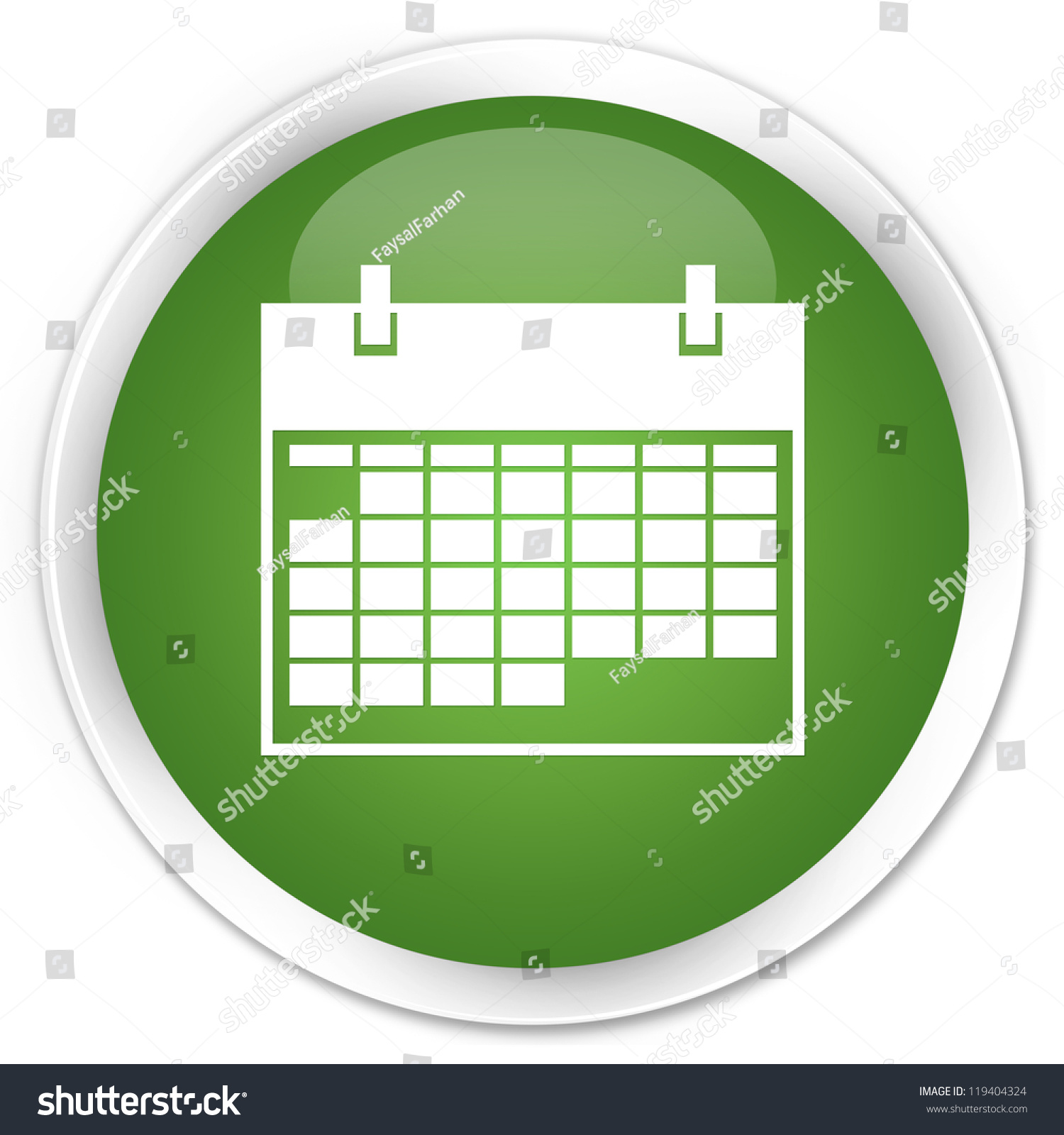 Blank Calendar Icon Green : Calendar icon green button stock illustration