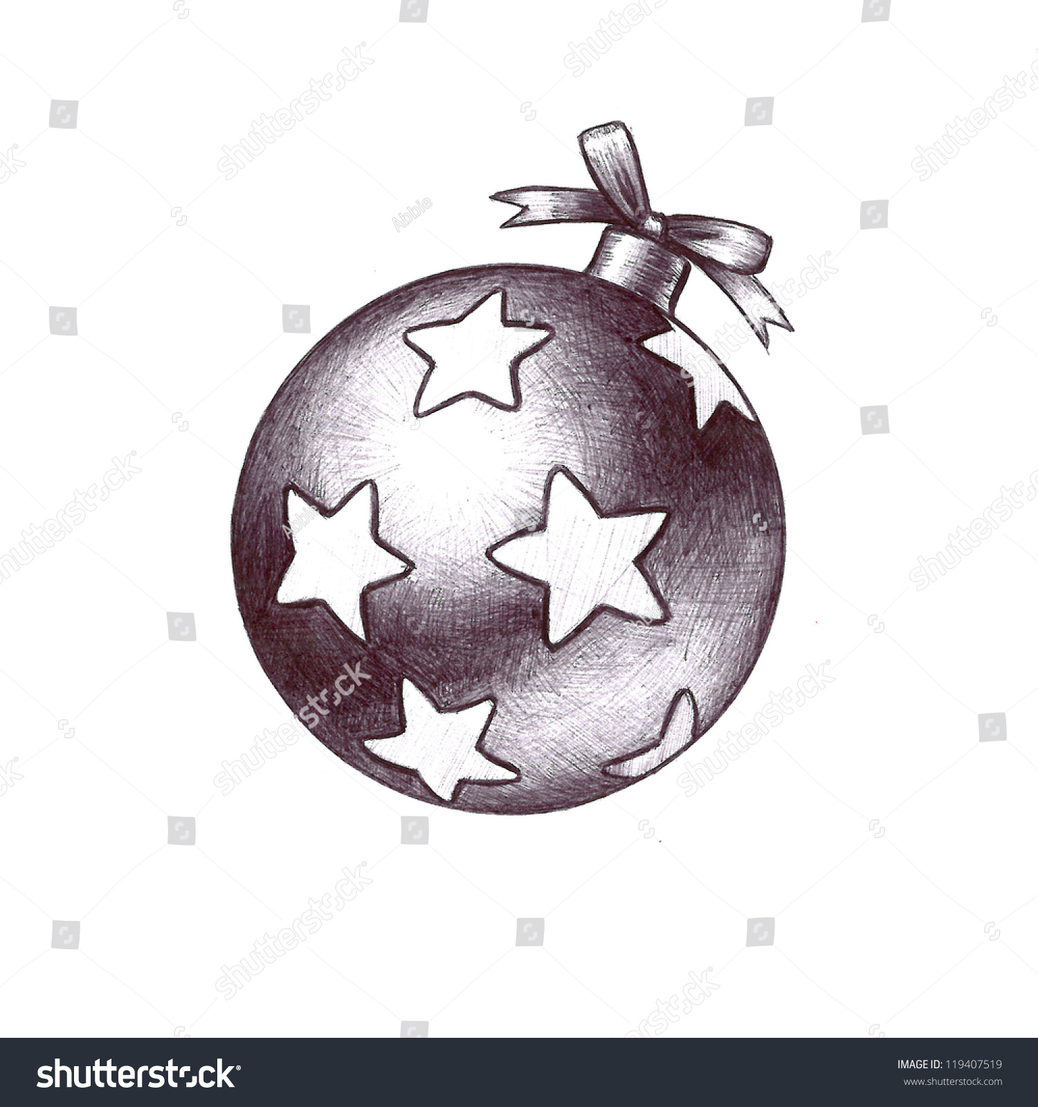 Hand Drawn Sketch Of Christmas Clip Art Beautiful Christmas Tree Ornament Ball With Stars And ...