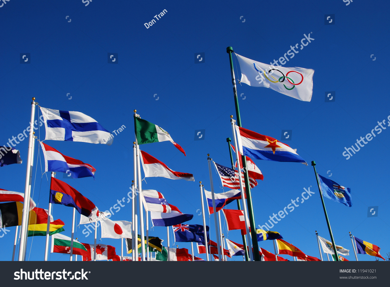 International Flags For Olympic Events On Blue Sky Calgary Park