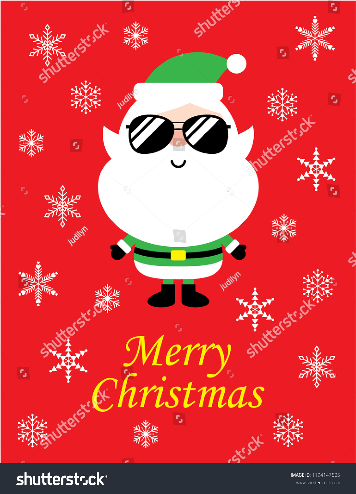 Cute Cool Santa Claus Merry Christmas Stock Vector (Royalty Free ...