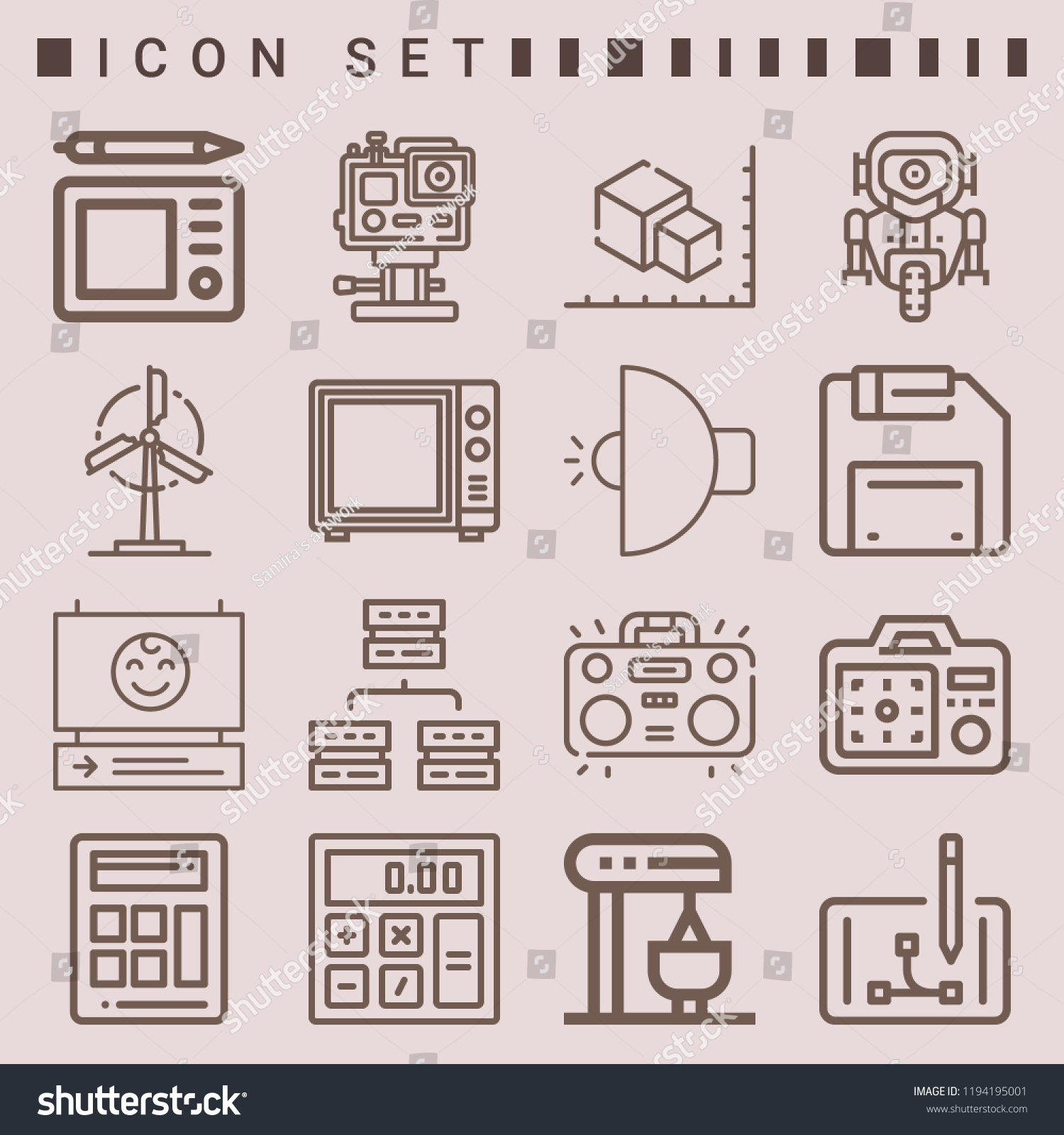 Simple Set 16 Outline Icons On Stock Vector Royalty Free Mixer Schematics Of Following Themes Calculator Microwave Windmill
