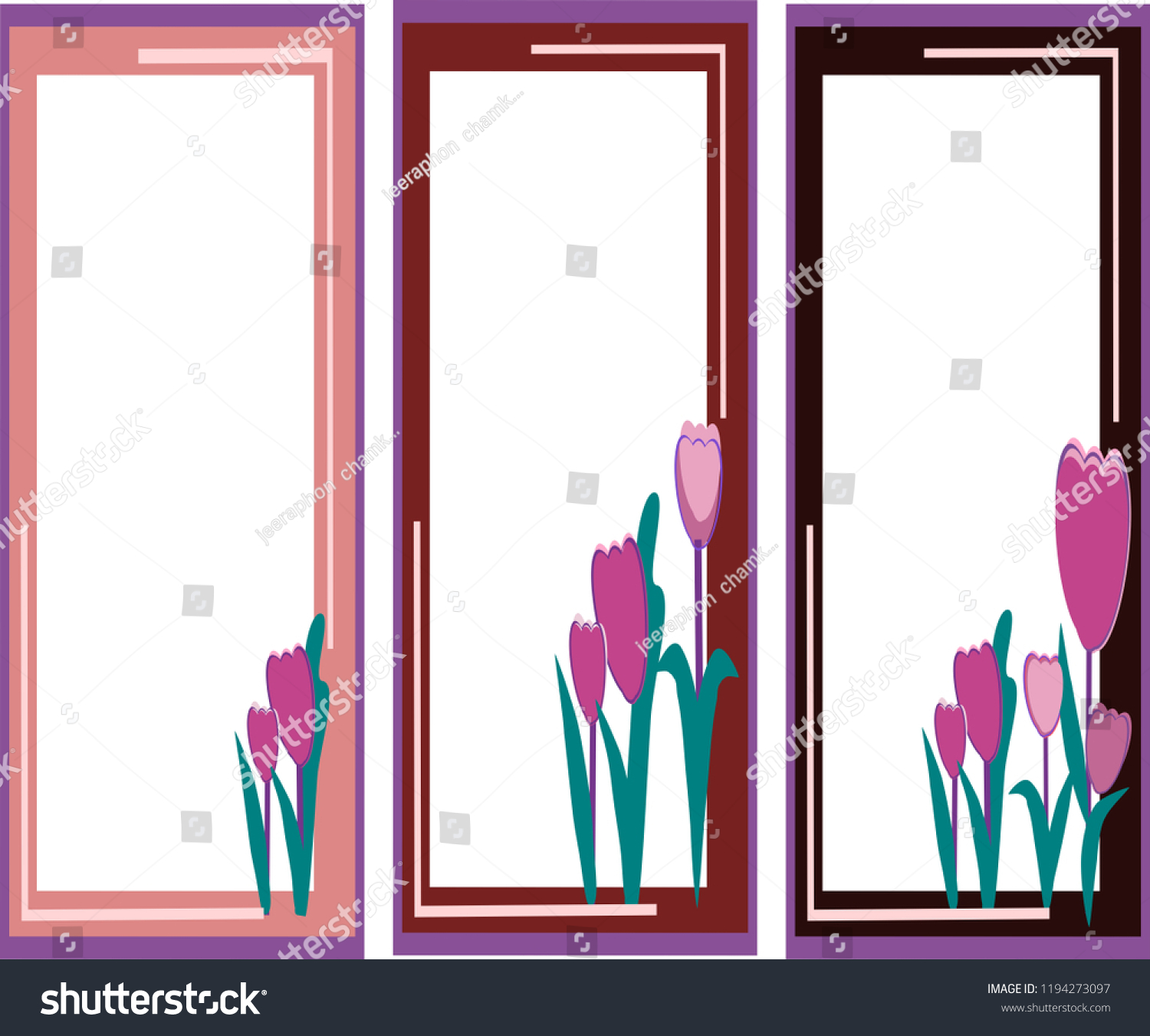 tulips floral frame vector frames study stock vector royalty free