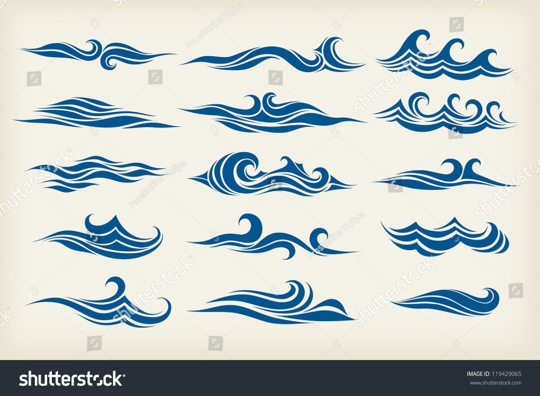 Stock Vector Alliesinteract 11211360: Set Sea Waves Stylized Design Stock Vector 119429065
