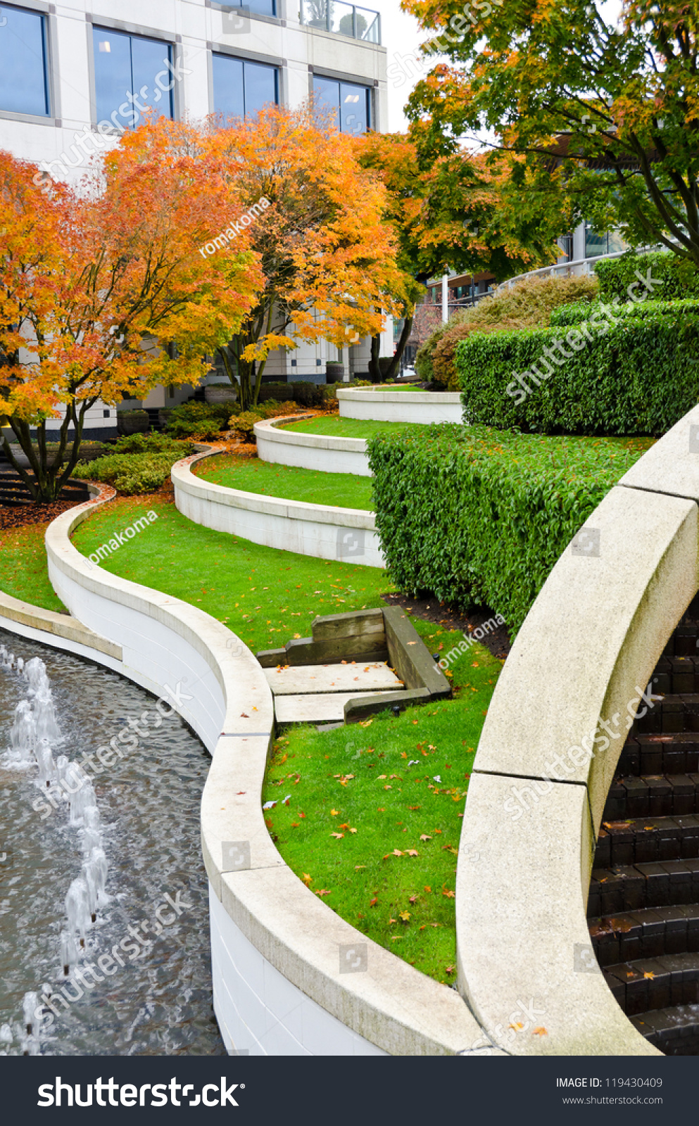 Leveled Terraces With Grass And Fountains In A City Plaza ...