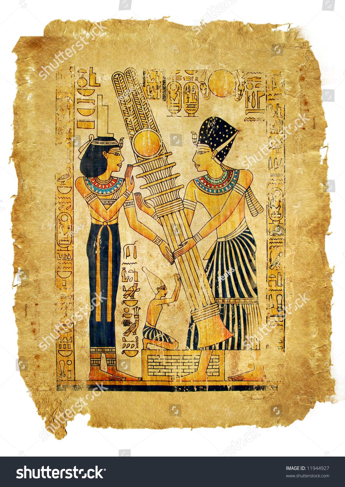 Ancient egyptian papyrus parchment stock photo