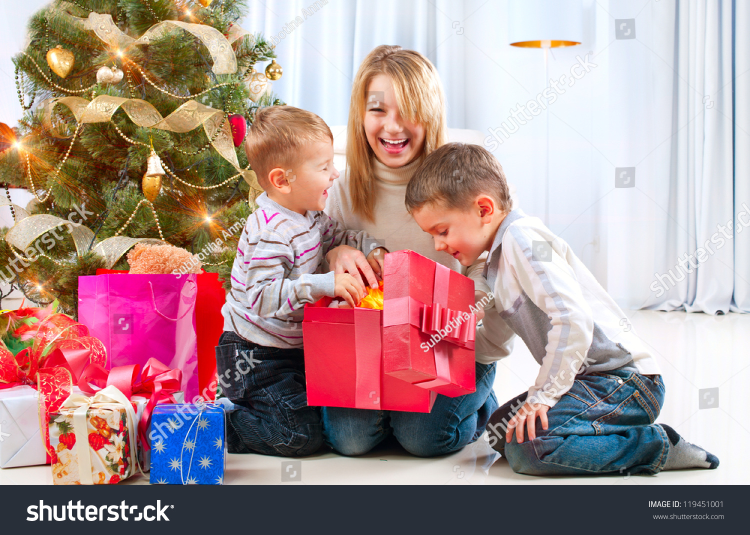 Christmas Kids Happy Children Opening Gifts Stock Photo (Edit Now ...