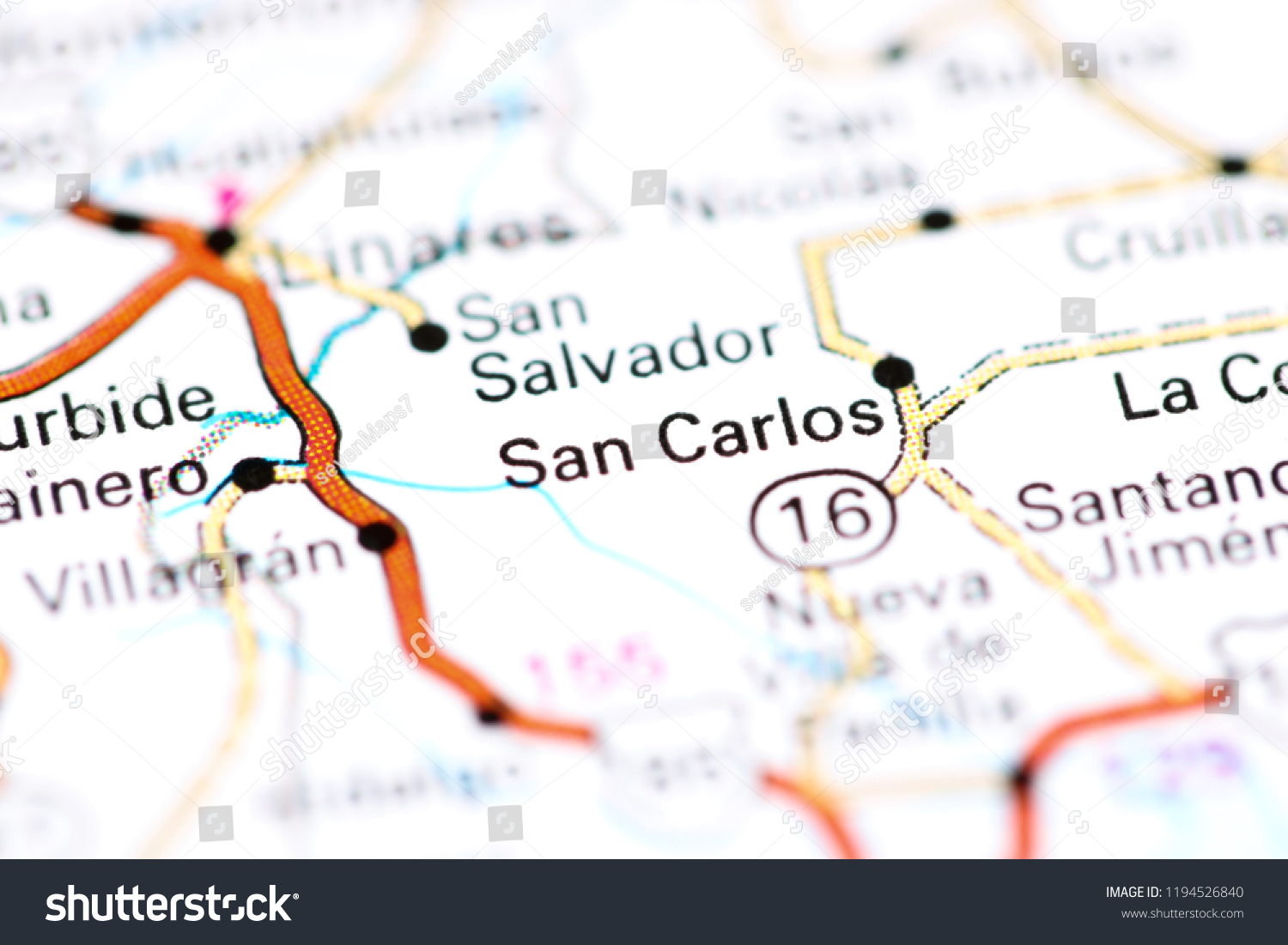 San Carlos Mexico On Map Stock Photo (Edit Now) 1194526840 ...