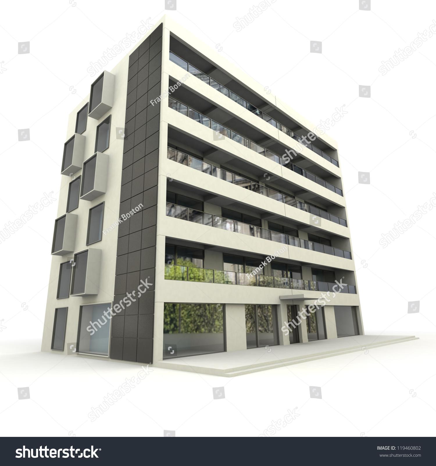 3d Rendering Modern Apartment Building Stock Illustration