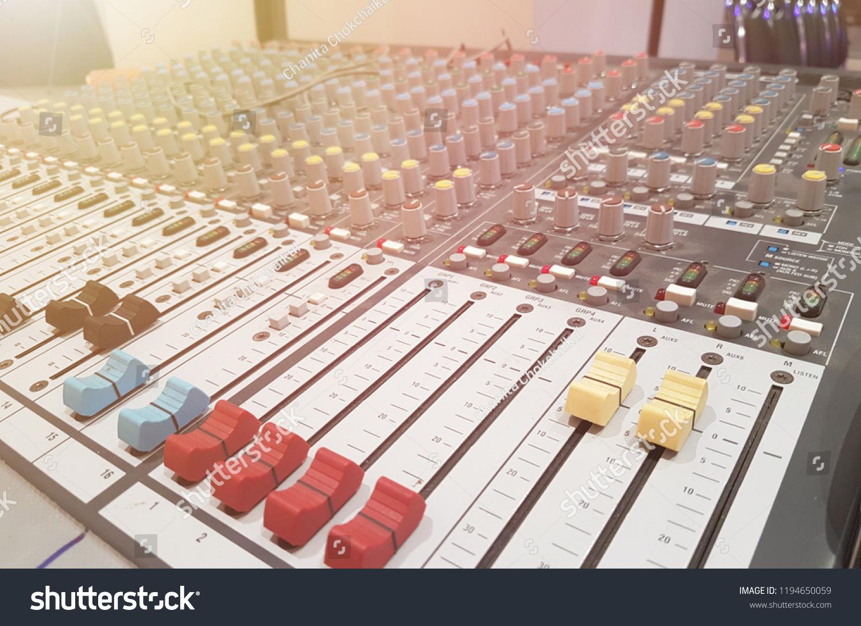 Button Sound Mixer Control Panel Electronics Stock Photo (Edit Now