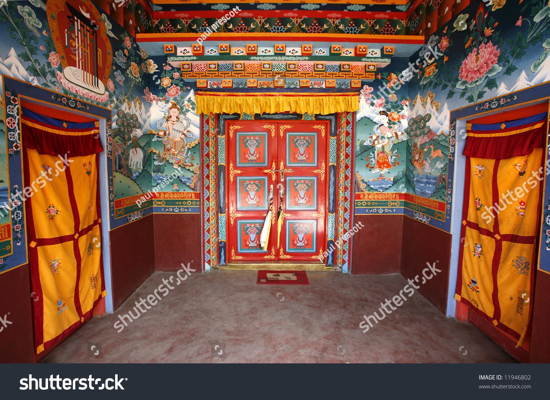 Buddhist monestary interior muktinath nepal stock photo for Interior house design in nepal