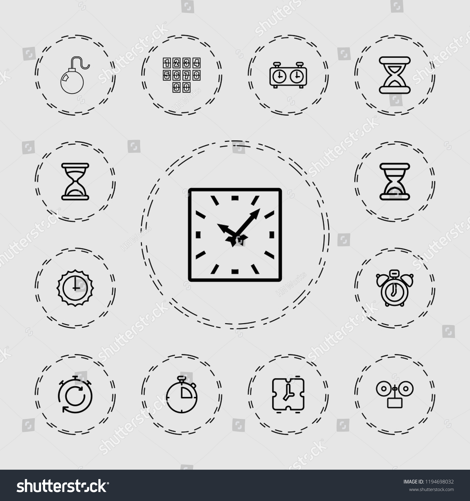 Vector Outline Icons Such Hourglass Clock Stock Vector