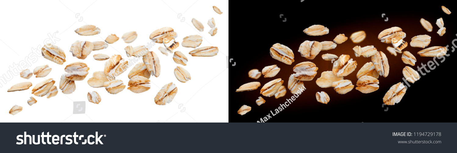 Oat flakes isolated on white and black backgrounds. Falling oats #1194729178