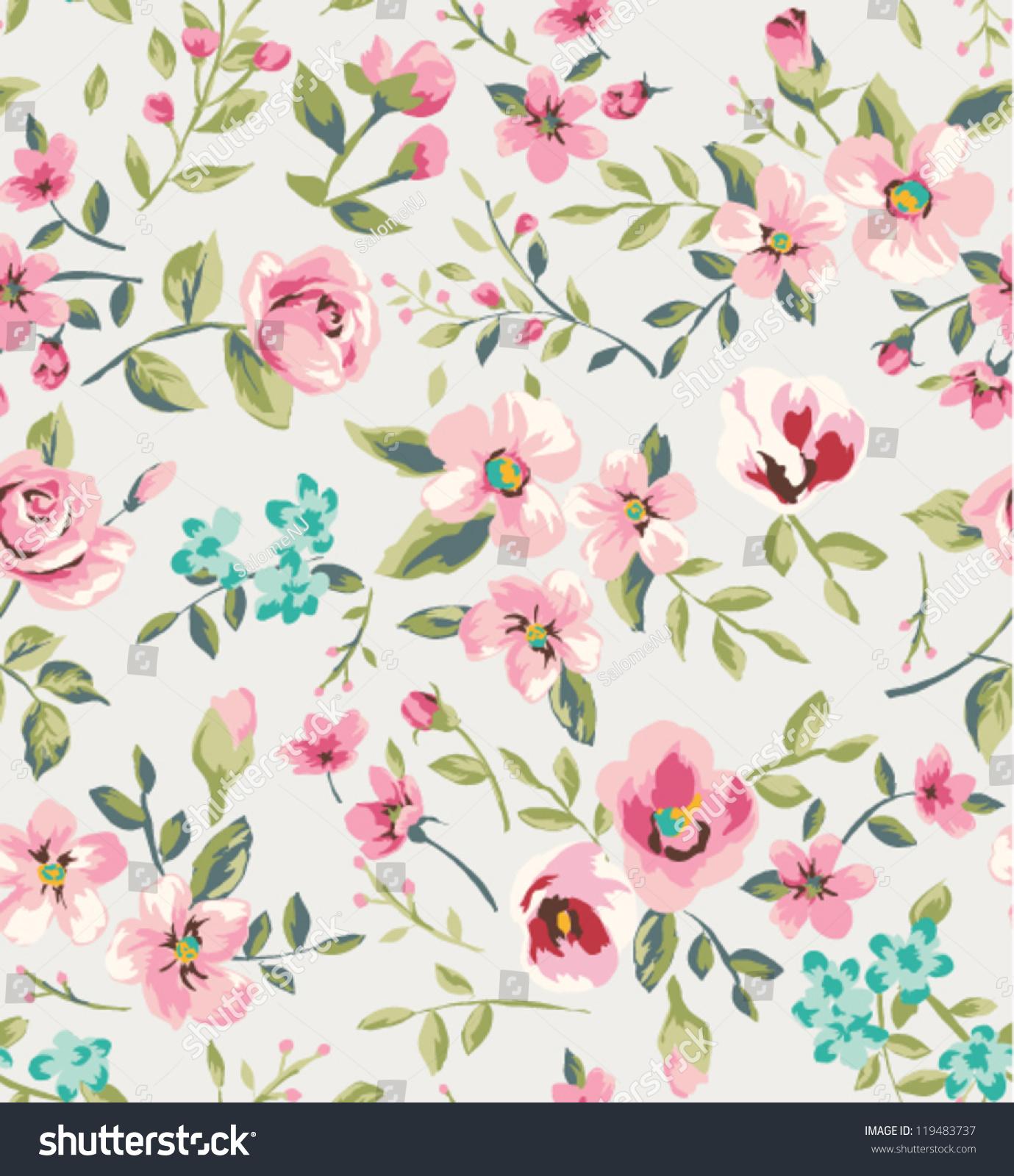 Seamless Vintage Flower Garden Pattern Background Stock