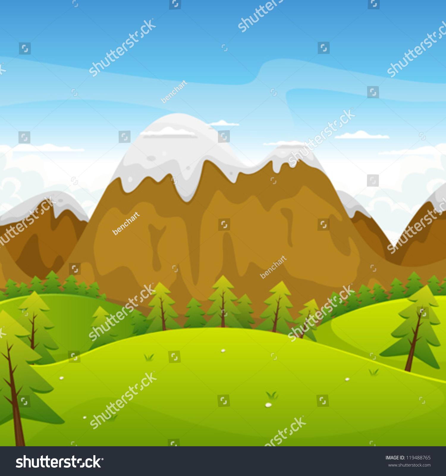 Landscape Illustration Vector Free: Cartoon Mountains Landscape Illustration Cartoon Summer