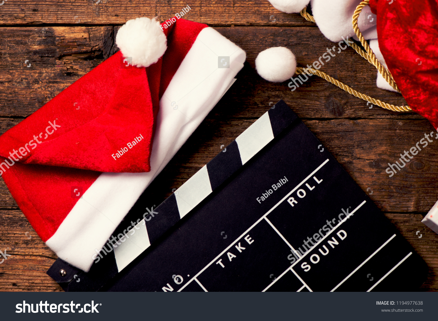 Christmas Hat Film Board Cutout Stock Photo Edit Now 1194977638