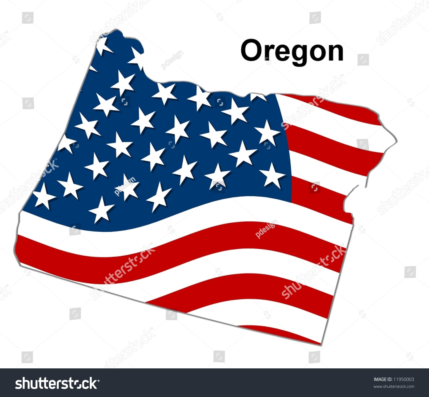 Map State Oregon American Flag Stock Illustration - Map of oregon state usa