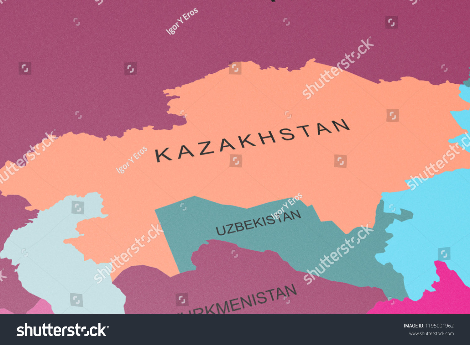 Kazakhstan Political Map.Political Map Central Asia Kazakhstan Focus Stock Illustration