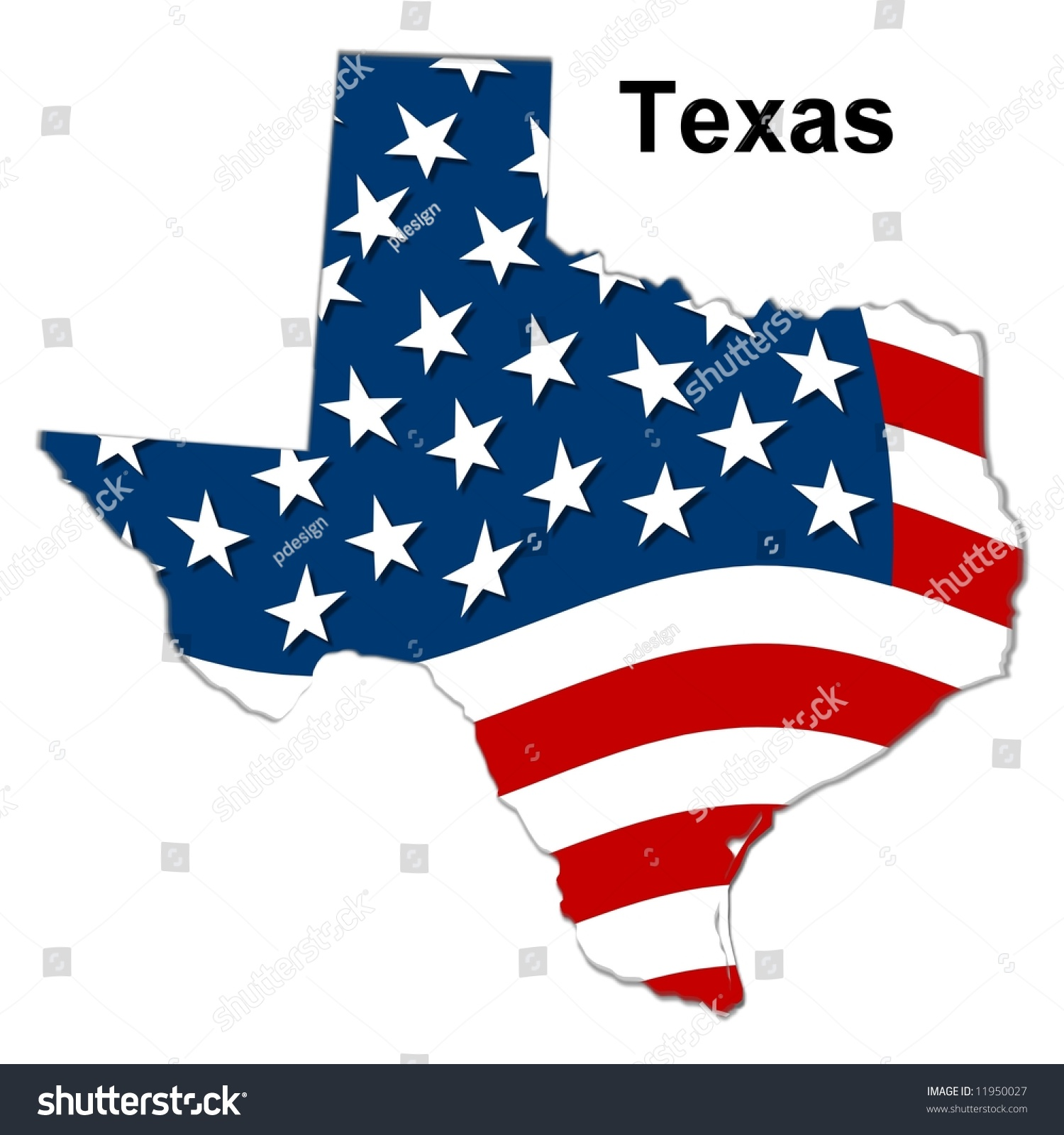 Map State Texas American Flag Stock Illustration - Us flag map