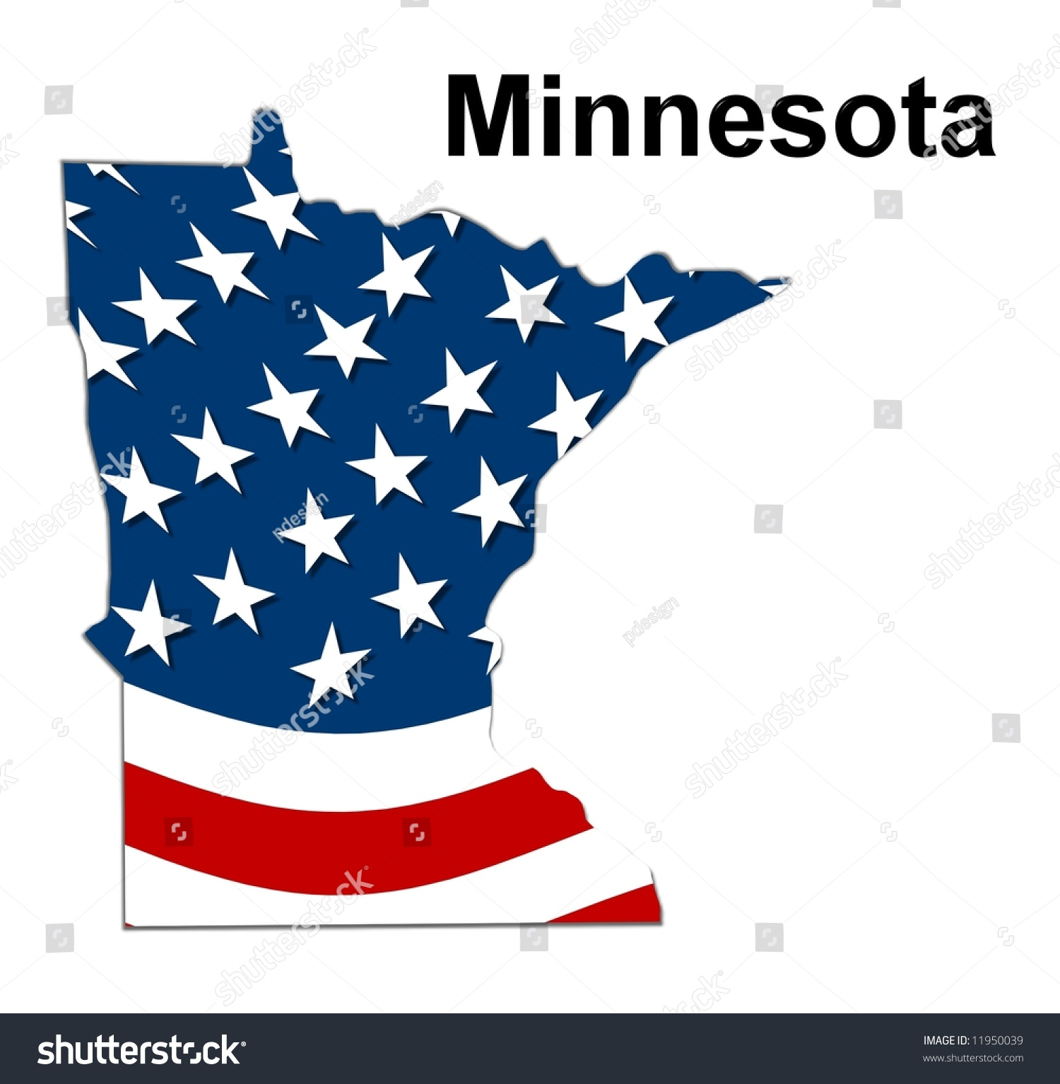 Map State Minnesota American Flag Stock Illustration 11950039