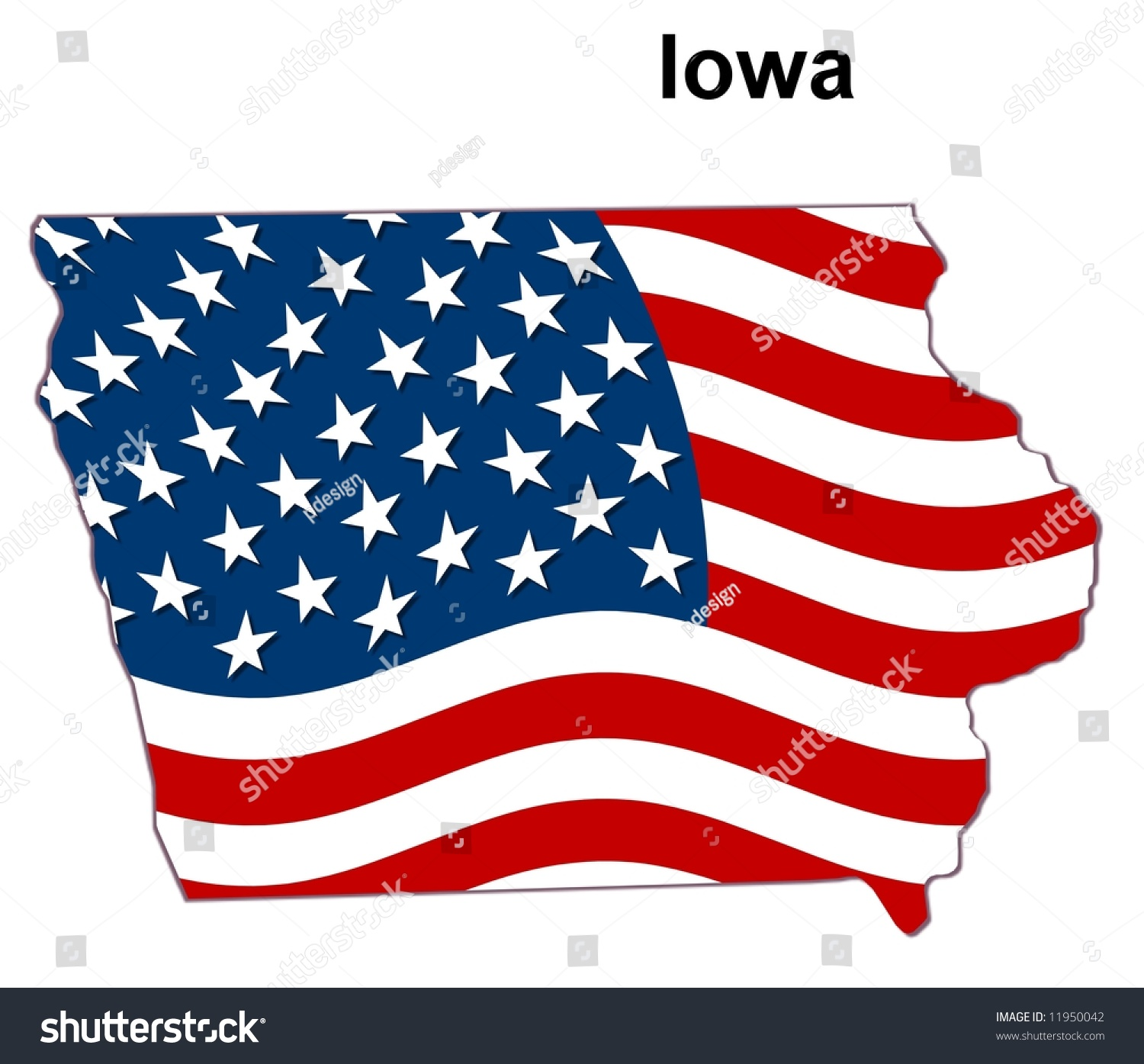 Map State Iowa American Flag Stock Illustration - Us map states iowa