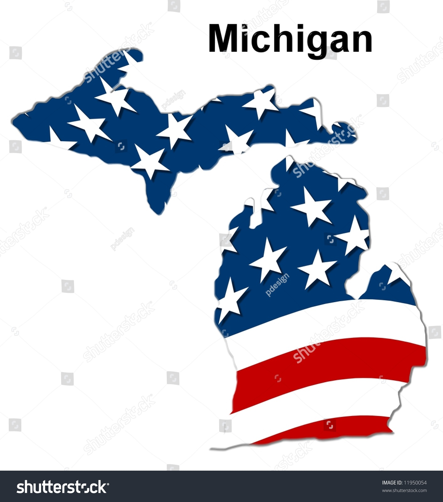 Map State Michigan American Flag Stock Illustration - State of state of michigan on a us map