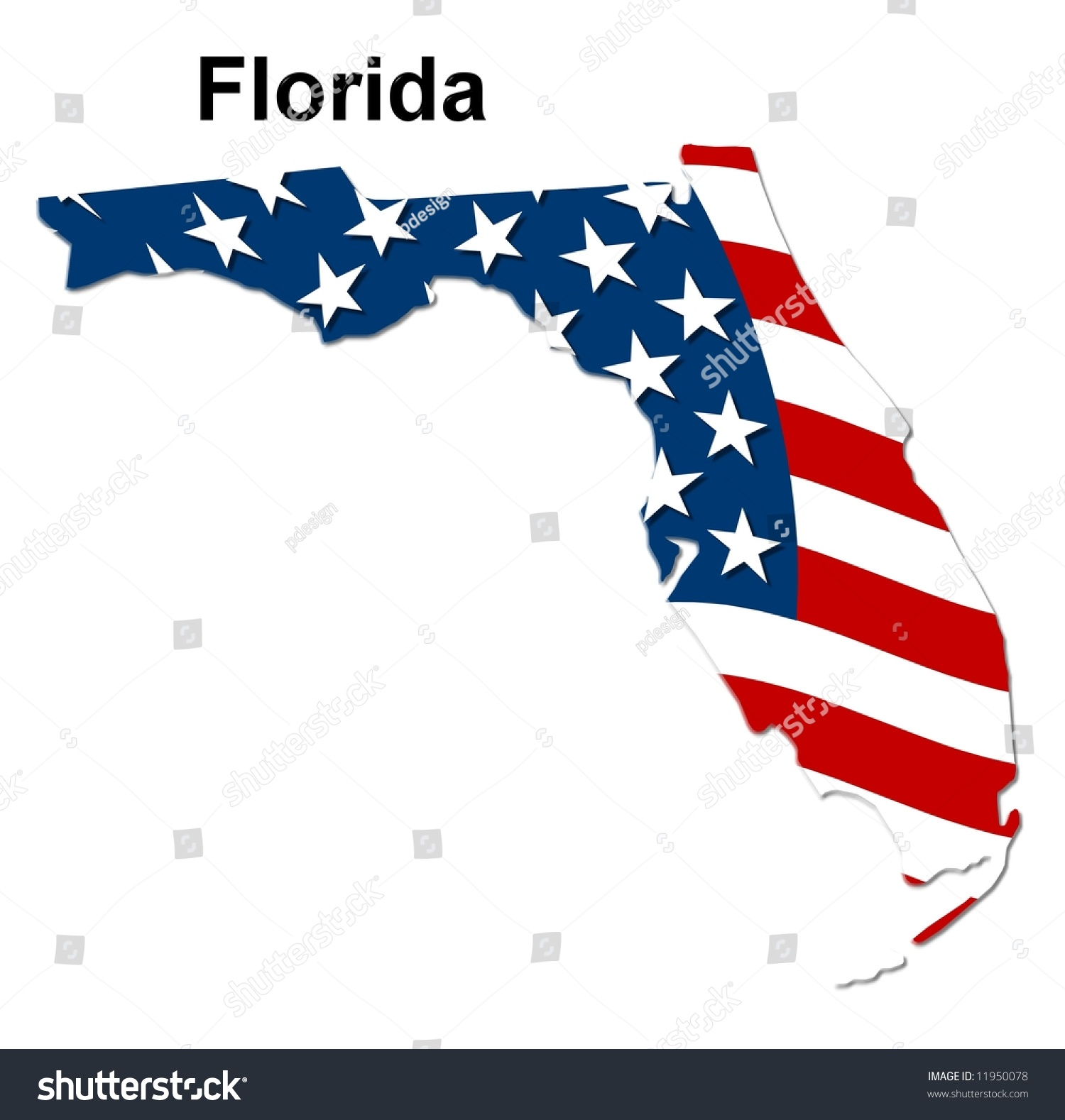 Map Of The State Florida  American Flag Stock Photo