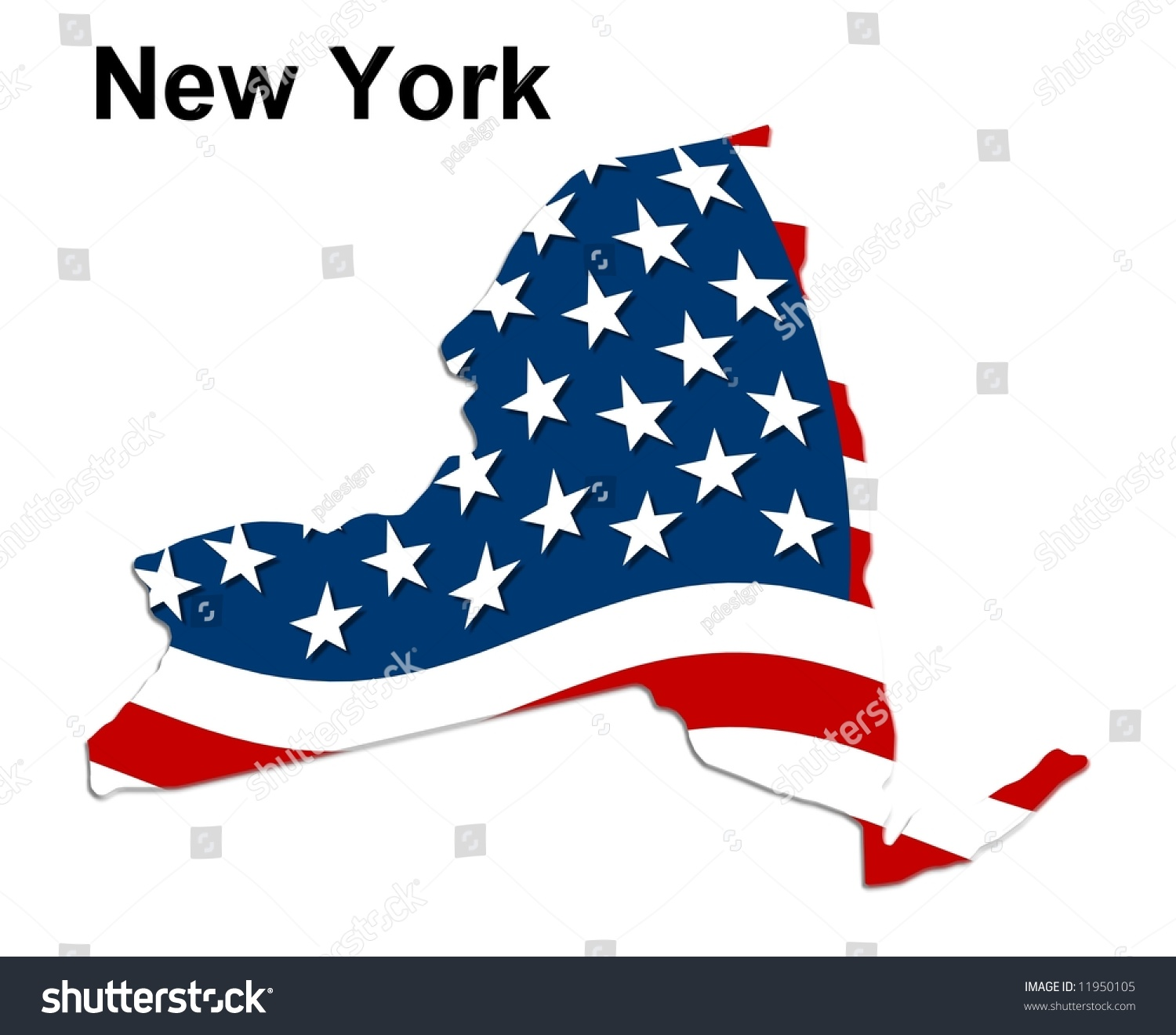 Map State New York American Flag Stock Illustration - Us map american flag