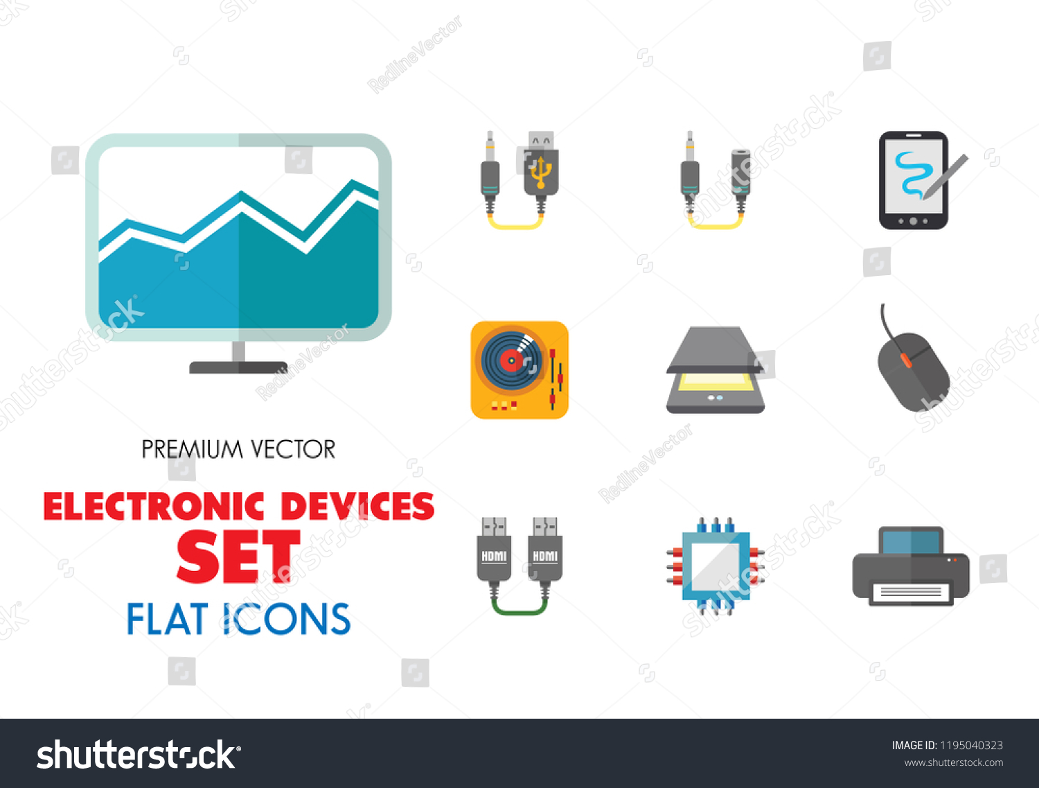 Electronic Devices Icon Set Smartphone Laptop Stock Vector