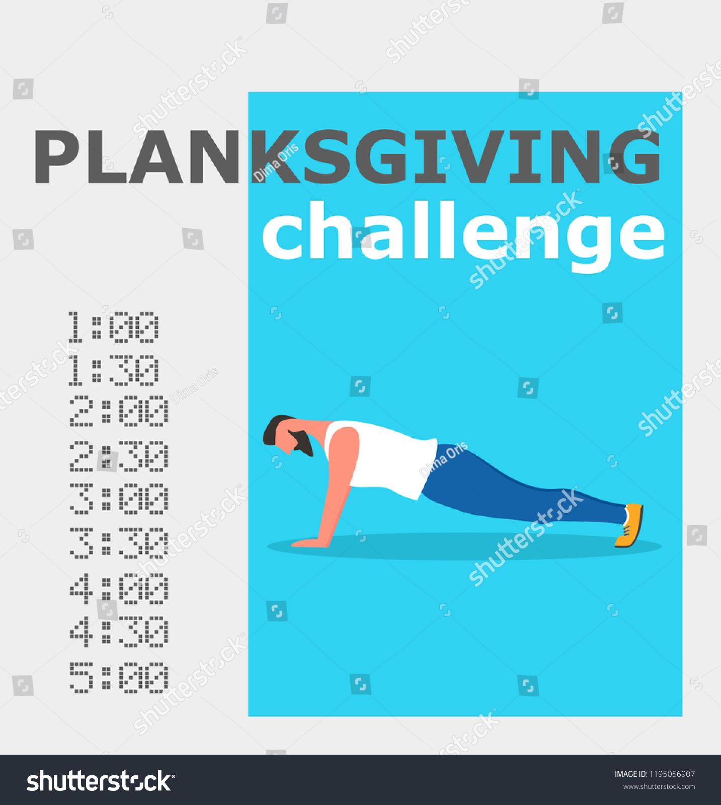 Planksgiving Challenge Banner Fitness Man Doing Stock Vector Royalty Free 1195056907