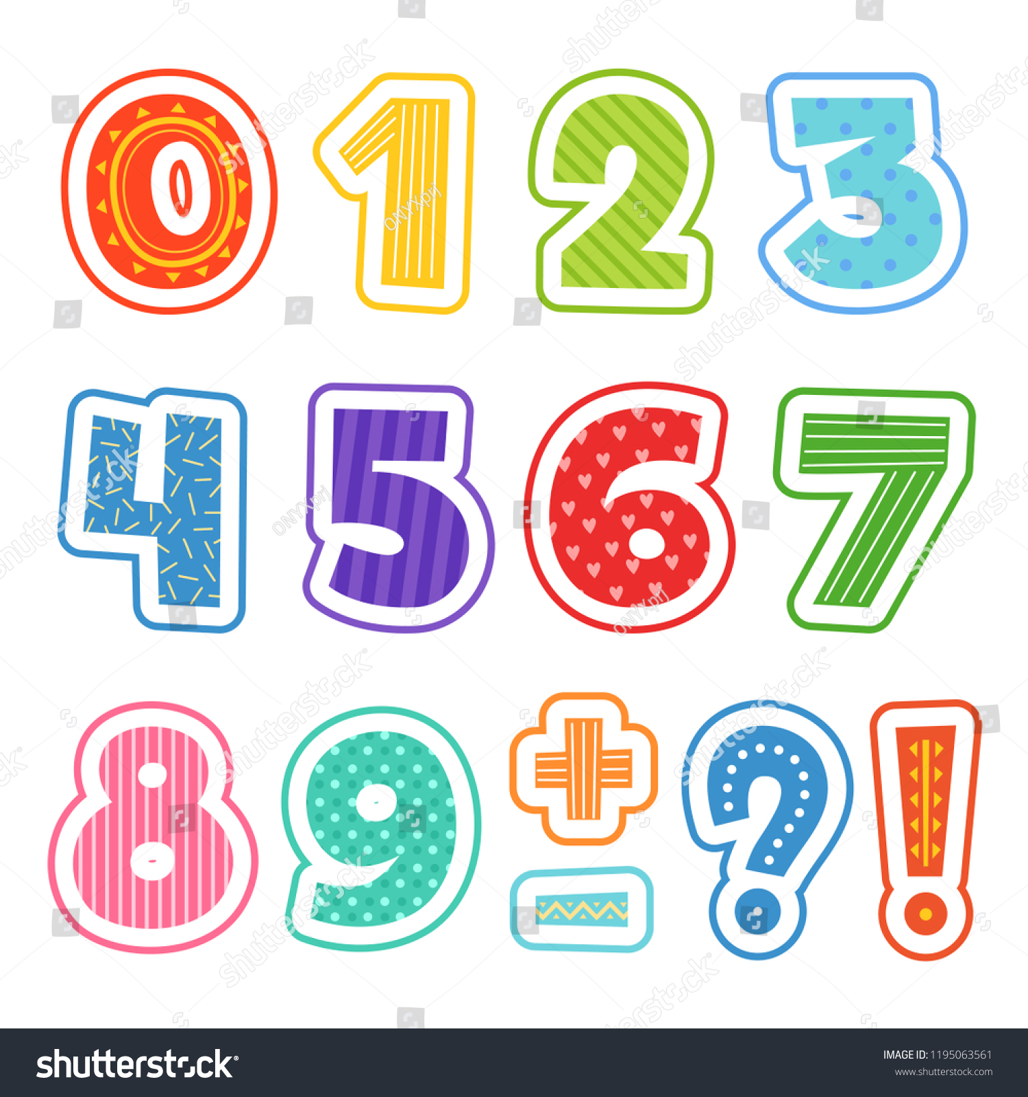 cartoon numbers colored fun alphabet school stock vector (royalty