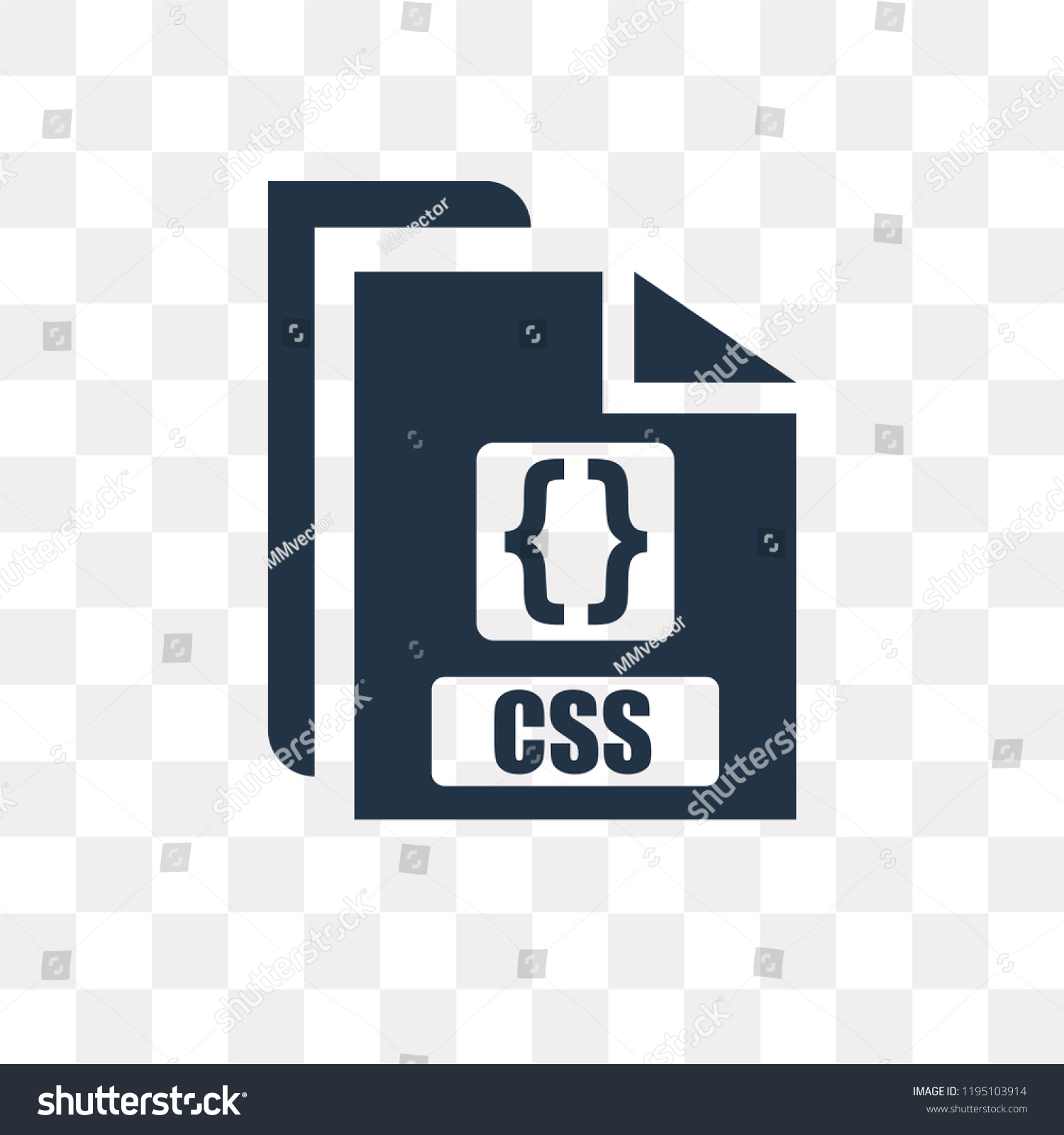 Css Vector Icon Isolated On Transparent Stock Vector