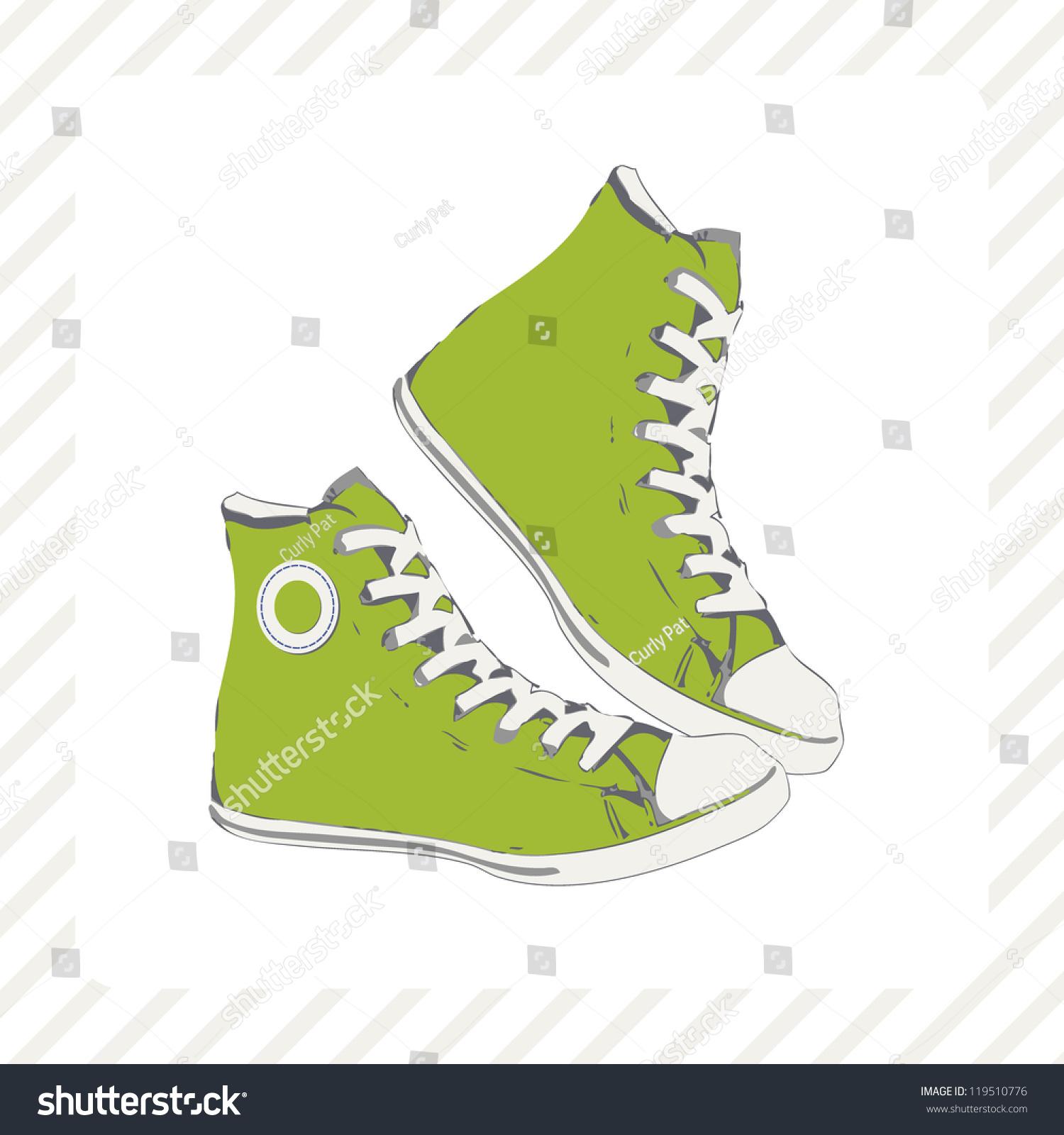 High Green Sneaker Side View Gumshoe Stock Vector 119510776