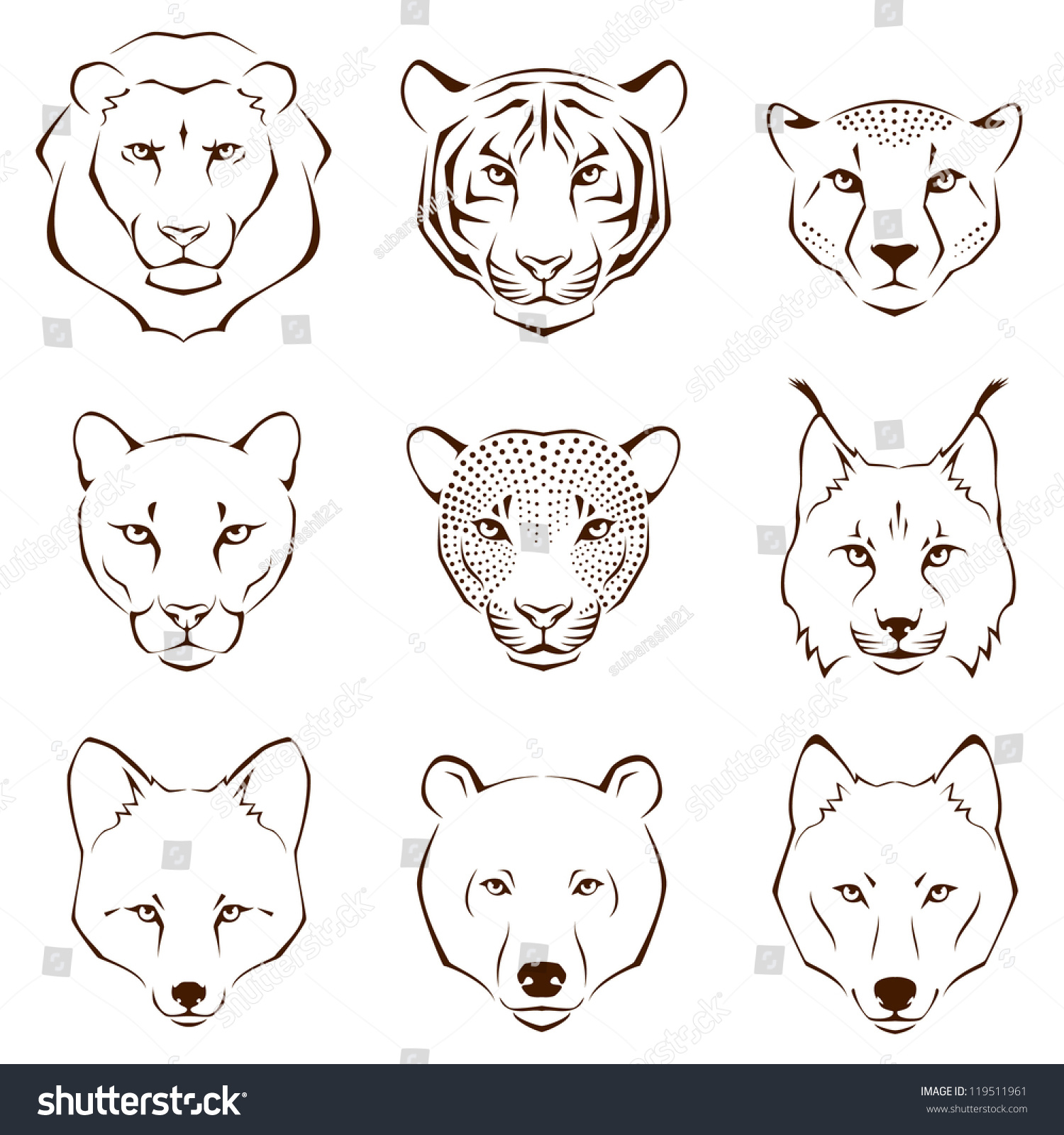 Line Drawing Of Animals : Set simple line illustrations showing different stock