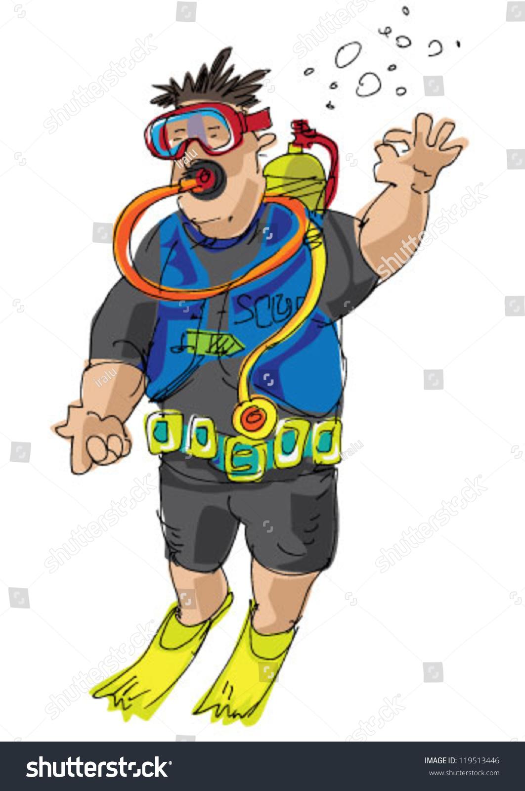 Scuba Diver Cartoon Stock Vector 119513446 - Shutterstock
