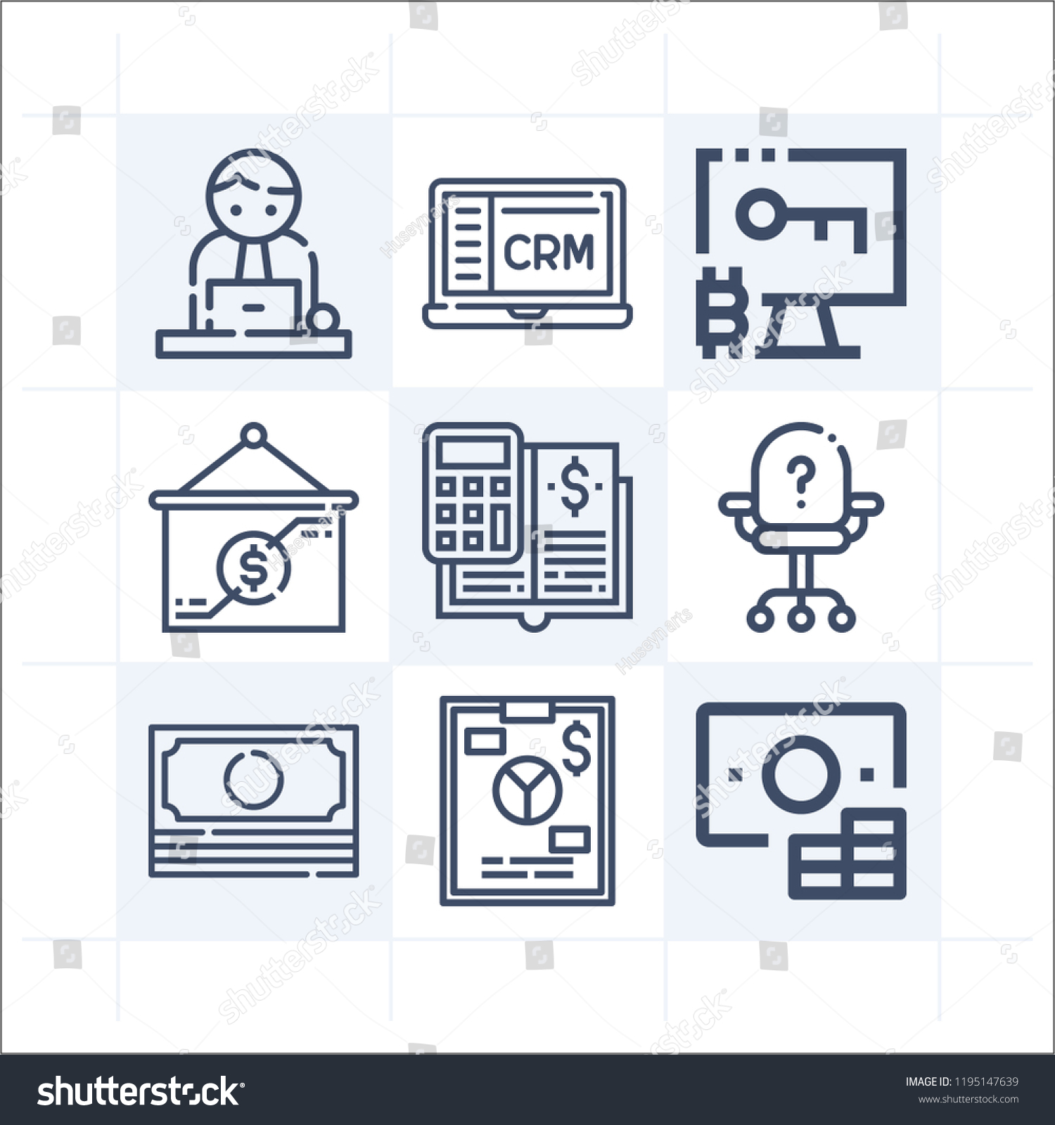 simple set 9 icons related business stock illustration 1195147639