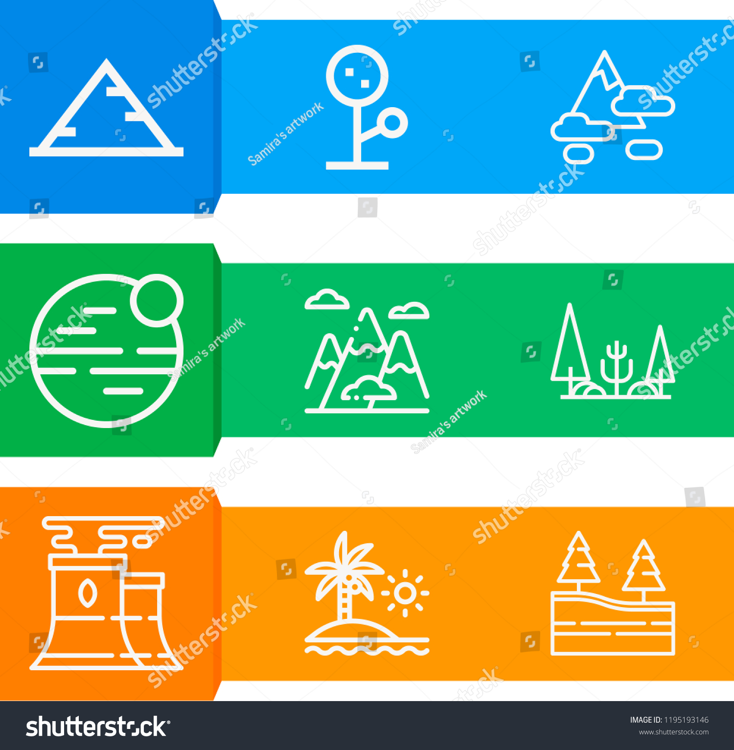 Simple Set 9 Outline Icons On Stock Illustration - Royalty Free