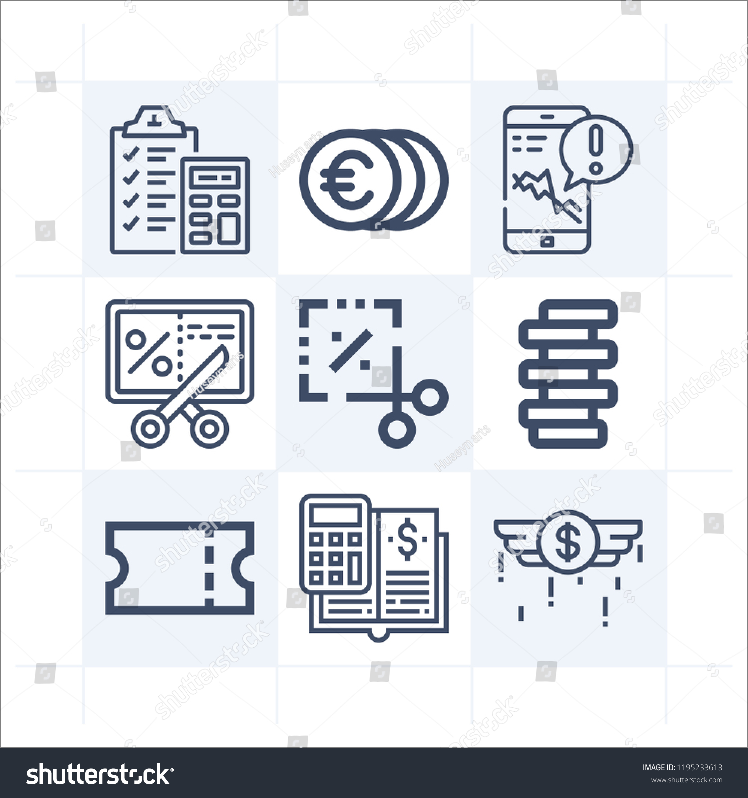simple set 9 icons related money stock vector royalty free