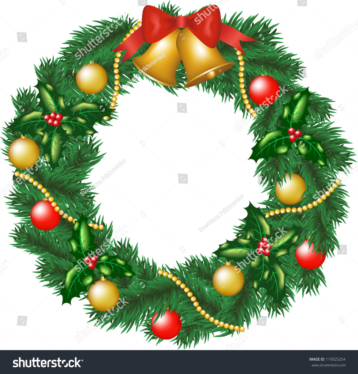 Christmas garland bells bauble holly berry stock vector