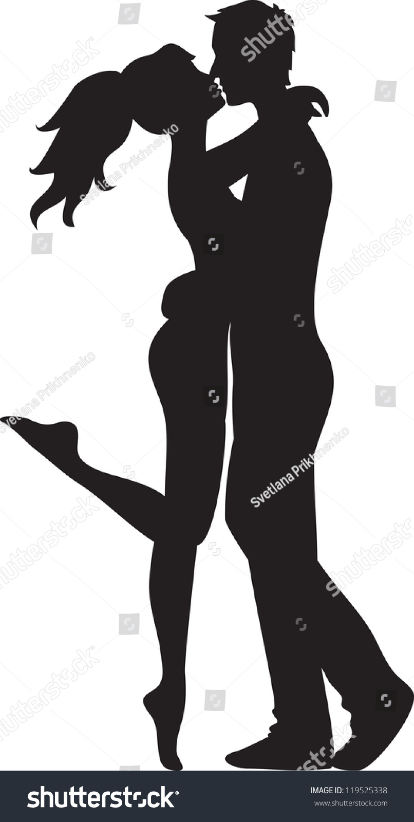 Teen couple kissing silhouette