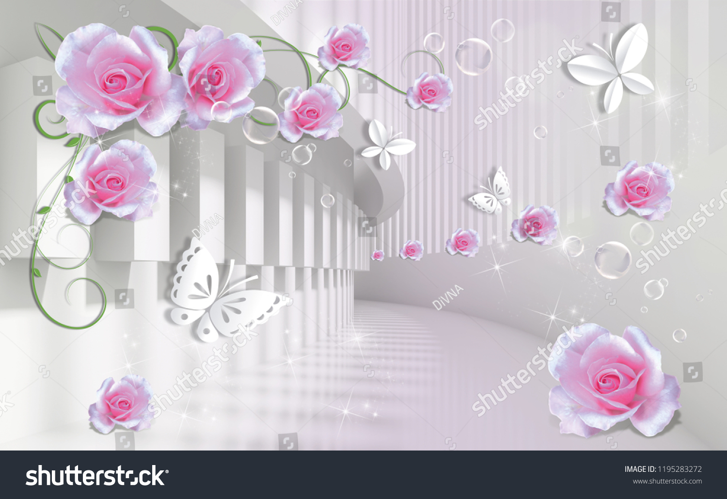 Royalty Free Stock Illustration Of 3 D Background Pink Roses Paper