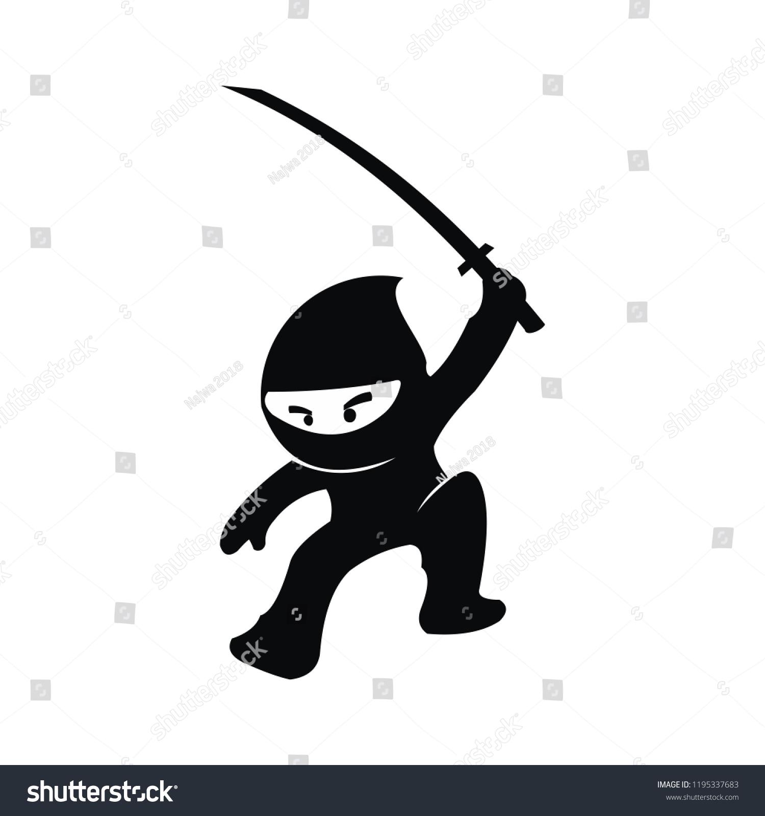 Ninja Samurai Warrior Fighter Character Cartoon Stock Vector Royalty Free 1195337683