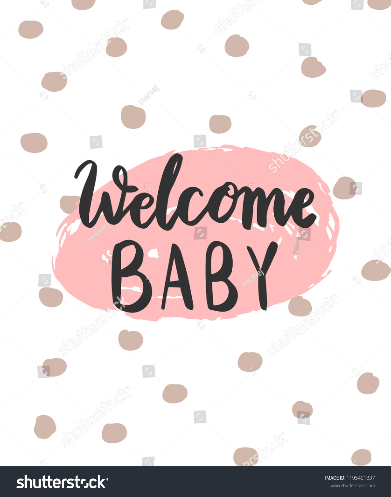 Baby Shower Welcome Baby Card Design Stock Vector Royalty Free