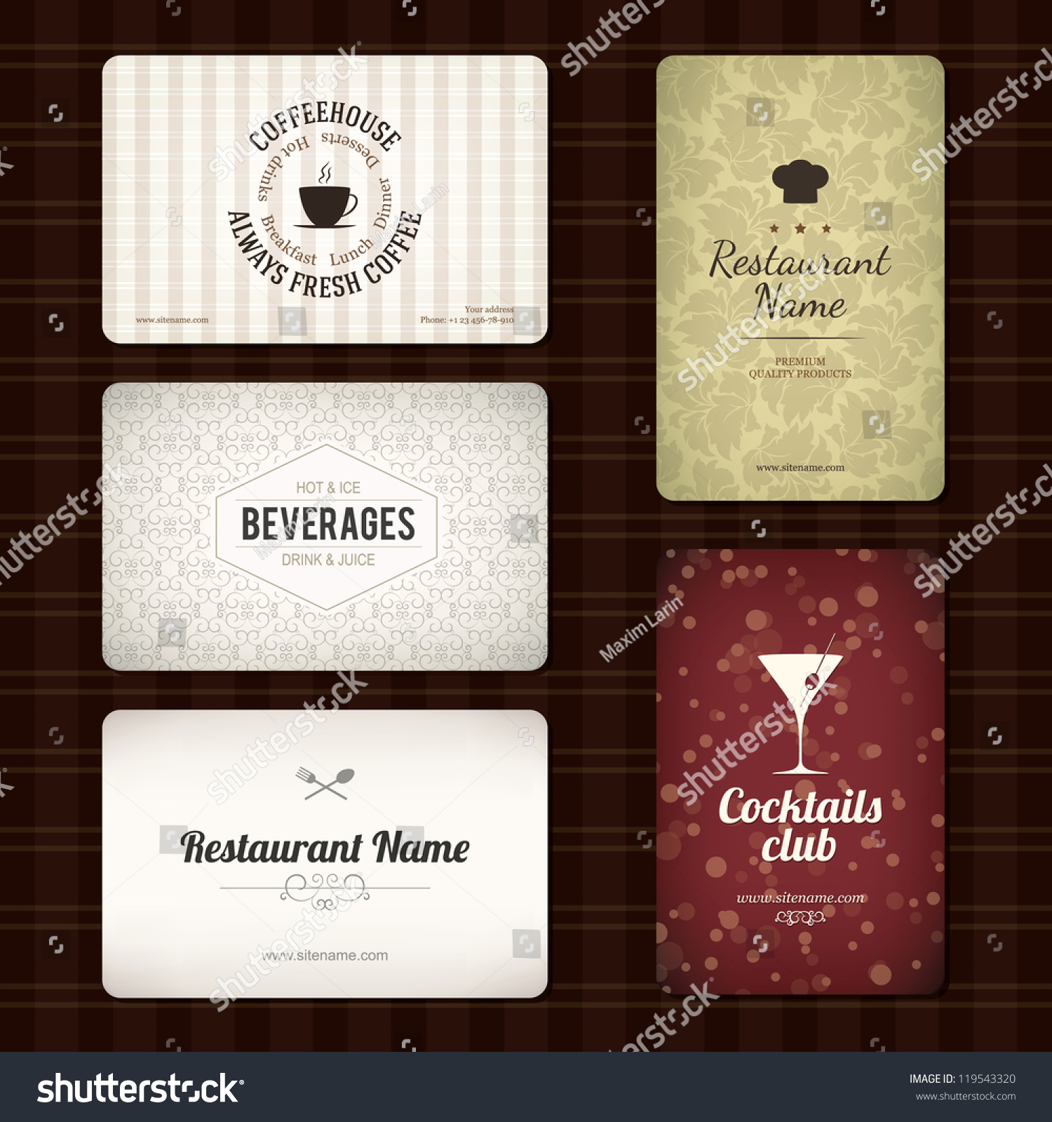 Perfect cafe business cards sketch business card ideas etadamfo set 5 detailed business cards cafe stock vector 119543320 shutterstock reheart Image collections