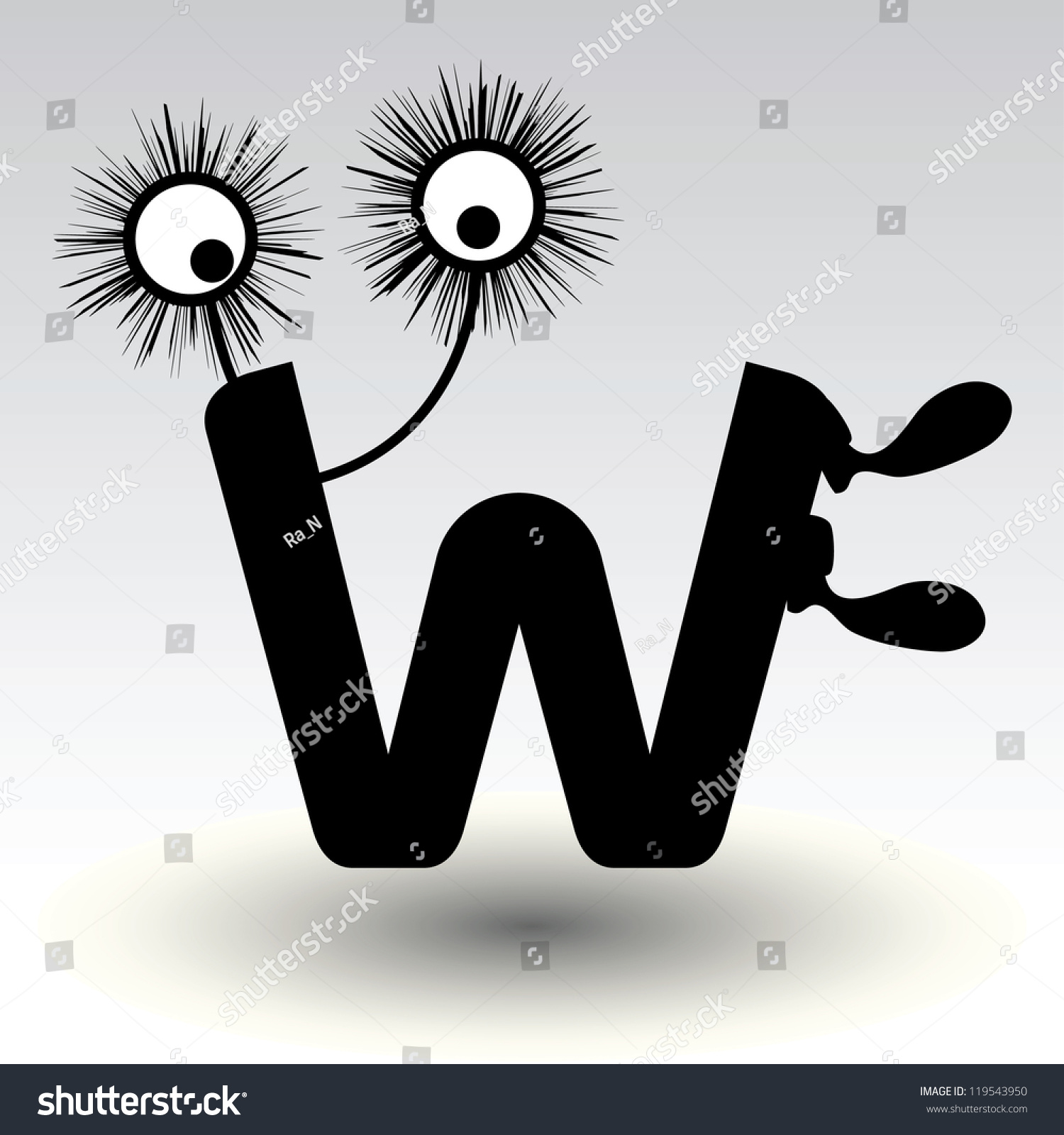 Character Design Letter : Letter w funny character design stock photo