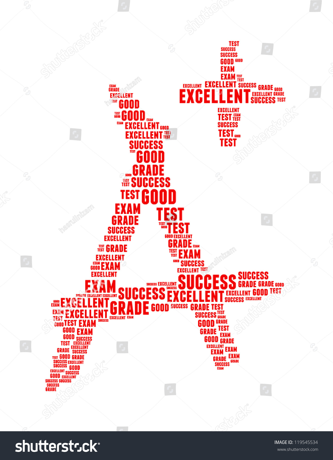 grade info text collage composed in the shape of capital letter a save to a lightbox