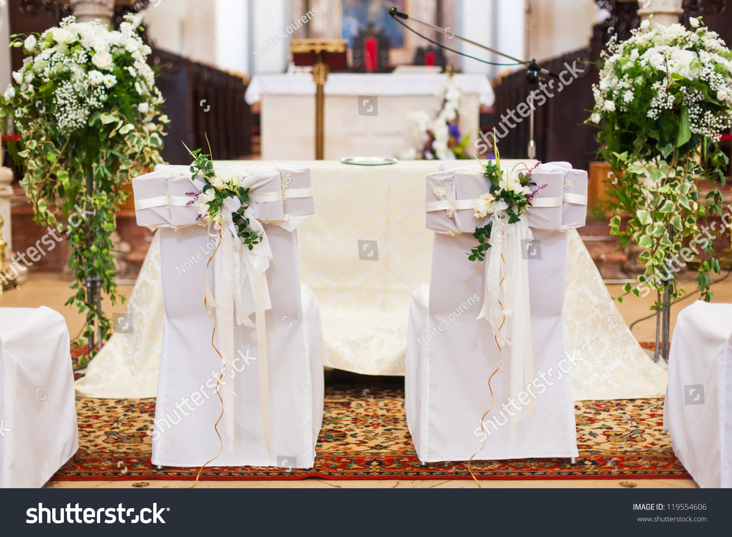 Bride Grooms Chairs Inside Church Stock Photo (Download Now ...