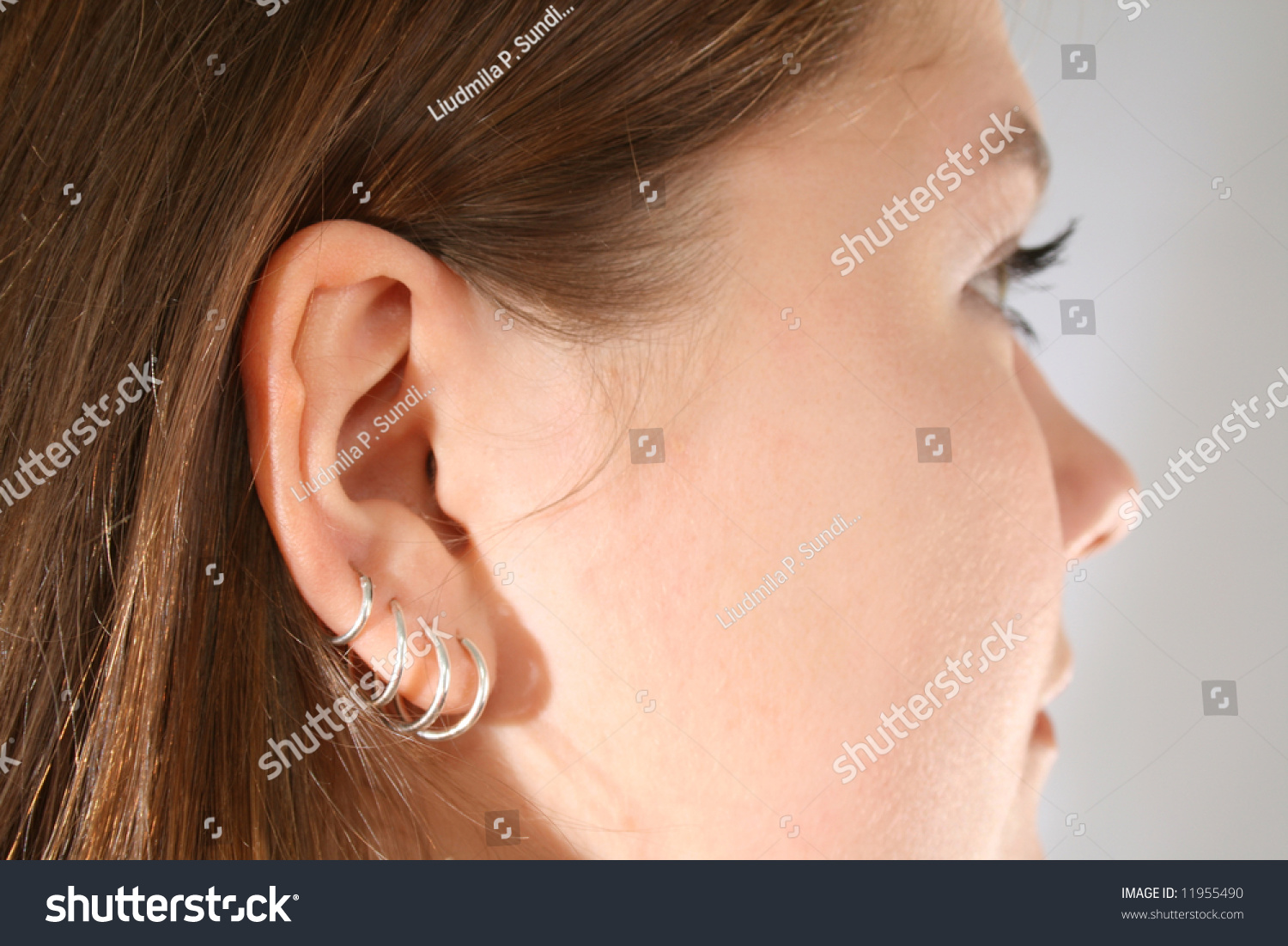 Closeup Multiple Ear Piercings On Young Stock Photo (Edit Now ...